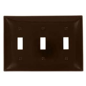 Leviton 80711 3-Gang Toggle Device Switch Wallplate, Standard Size, Mater