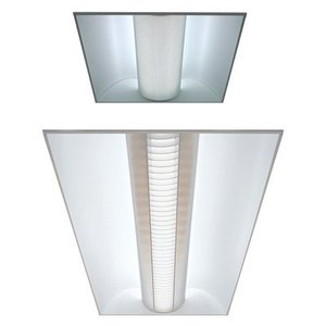 Lithonia Lighting 2AVG332MDRMVOLT1/3GEB10IS Volumetric Recessed Fixture, 4', 3-Lamp, T8, 32W, 120/277V