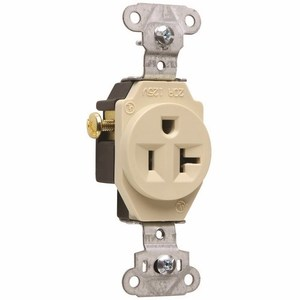 Pass & Seymour 5351-I Single Receptacle, 20 Amp, 125 Volt, Ivory