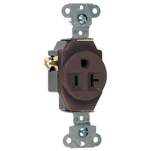 Pass & Seymour 5351 Single Receptacle, 20 Amp, 125 Volt, Brown