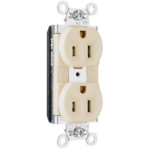 Pass & Seymour PT5362-I Duplex PlugTail Receptacle, 20A, 125V, Ivory, 5-20R