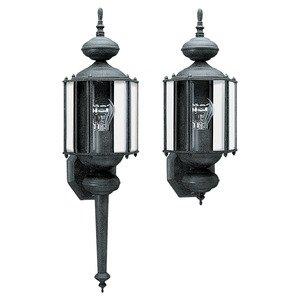 Sea Gull 8510-12 1-Light Outdoor Wall Lantern, 100W, 120V, Black Finish