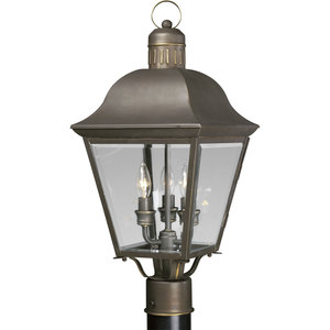 Progress Lighting P5487-20 Post Lantern, Outdoor, 3-Light, 60W, Antique Bronze
