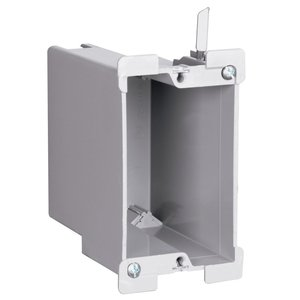 "Pass & Seymour S122-W Switch/Outlet Box, 1-Gang, Depth: 3-1/2"", Non-Metallic"