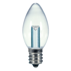 Satco S9156 LED Lamp, C7, 0.5W, 120V, Candelabra Base