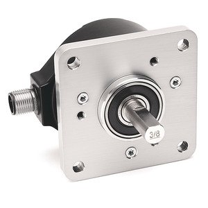 Allen-Bradley 847H-DN1A-RG02500 Incremental Encoder , Standard Square Flange , 3/8 inch Diameter Shaft with Flat , 4.5-5.5 Volt Line Driver,TTL (B-Leads-A, CW, Z gated with BN) , MS Connector, 10-Pin with mating connector, 2500 Pulses per Revolution.