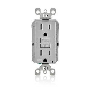 Leviton GFWT1-GY Tamper/Weather Resistant GFCI Receptacle, 15A, 125V, Gray