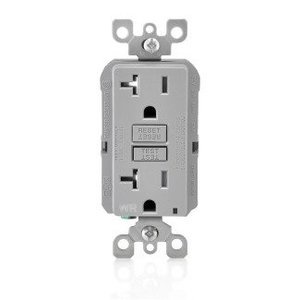 Leviton GFWT2-GY Tamper/Weather Resistant GFCI Receptacle, 20A, 125V, Gray