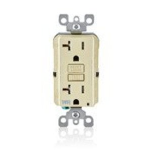 Leviton GFWT2-I Tamper/Weather Resistant GFCI Receptacle, 20A, 125V, Ivory