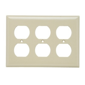 Pass & Seymour SP83-I Duplex Receptacle Wallplate, 3-Gang, Steel, Thermoset, Ivory