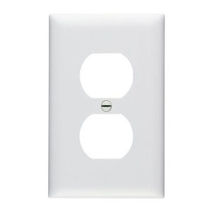 Pass & Seymour TP8-W Duplex Receptacle Wallplate, 1-Gang, Nylon, White