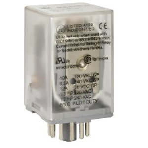 Square D 8501KPR13V20 Relay, Ice Cube, 10A, 240VAC, 120VAC Coil, 3PDT, 11 Pin