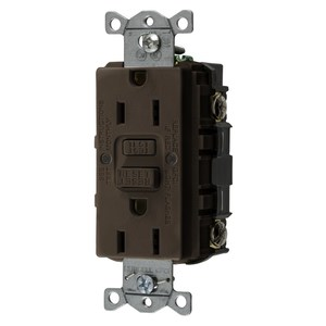 Hubbell-Wiring Kellems GFRST15 Self-Test GFCI Receptacle, 15A, 125V, Brown