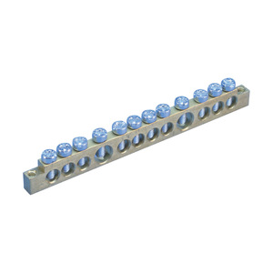 Erico Eriflex 568610 Earthing and Neutral Busbar, 12 Connections, Brass