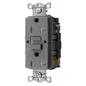 Hubbell-Wiring Kellems GFTWRST20GY Tamper/Weather Resistant GFCI Receptacle, 20A, Gray