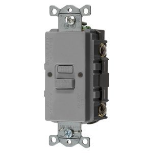 Hubbell-Bryant GFBFST20GY Self-Test GFCI Receptacle, 20A, 125V, Blank Face, Gray