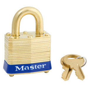"Master Lock 4KAB Padlock, 1-9/16"" Wide, Laminated Brass, Pin Tumbler, Keyed Alike"