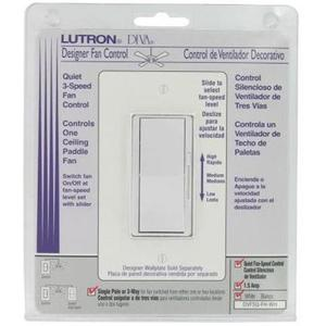 Lutron DVFSQ-FH-WH Fan Control, Decora, 3-Speed, 1-Pole, 1.5A, 120V, White