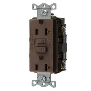 Hubbell-Wiring Kellems GFRST20 GFCI Receptacle, Self-Test, 20A, 125V, Brown