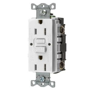 Hubbell-Wiring Kellems GFWRST15W Weather Resistant GFCI Receptacle, Self-Test, 15A, White