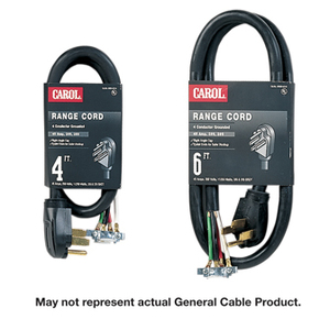 General Cable 00604.63.01 Range Power Supply Cord, 50A, 125/250V, 4-Wire, 4' Long, Black