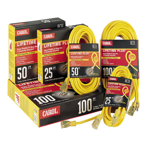 General Cable 03399.61.05 Lighted Extension Cord, 12/3 SJTW, Yellow, 100' Length