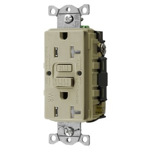 Hubbell-Wiring Kellems GFTWRST20I Tamper/Weather Resistant GFCI Receptacle, 20A, Ivory