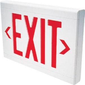 Hubbell-Dual-Lite LXURWE Exit Sign, LED, White, Red Letters, 120/277V