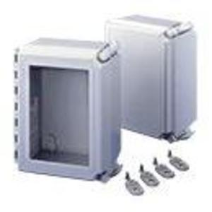 "Hoffman A14128CHQRFGW Enclosure, Hinged Cover, Window, NEMA 4X, 14"" x 12"" x 8"", Fiberglass"
