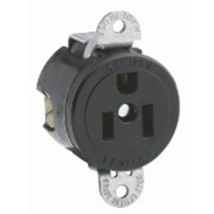 Leviton 5284-SS 15 Amp Single Short Strap Receptacle, 125V, 5-15R, Black, Commercial