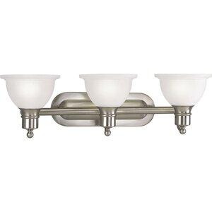 Progress Lighting P3163-09 Bath Light, 3-Light, 100W, Brushed Nickel