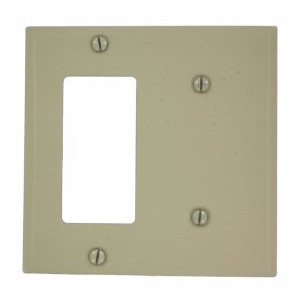 Leviton P1426-I Combo Wallplate, 2-Gang, Blank/Decora-GFCI, Metal, Ivory, Standard