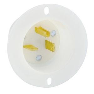 Leviton 15378-C 20 Amp Flanged Inlet, 125V, 5-20P, Nylon, White