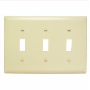 Pass & Seymour TP3-I Toggle Switch Wallplate, 3-Gang, Nylon, Ivory