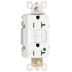 Pass & Seymour 2097-HGW Hospital Grade GCFI Receptacle, 20A, 125V, White