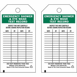 Brady 76195 Safety Inspection Tag: Emergency Shower & Eyewash Test Record