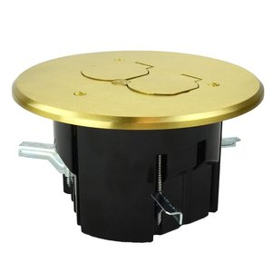 Allied Moulded FB-7 Round floor box assembly with a brass flip-lid cover for a duplex device