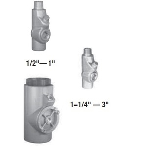 "Appleton EYM100 Sealing Fitting, 1"", Male/Female, Vertical (25% Fill), Malleable"