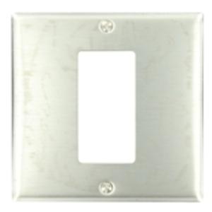 Leviton S746-N Decora Wallplate, 2-Gang, (1) Opening, 302 Stainless Steel