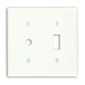 Leviton 88077 Combo Wallplate, 2-Gang, Duplex/Phone, Thermoset, White, Standard