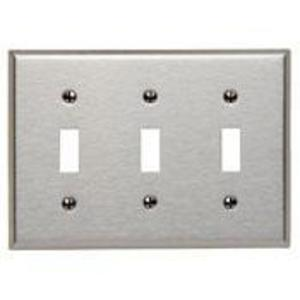 Leviton 84011 Toggle Switch Wallplate, 3-Gang, 430 Stainless Steel