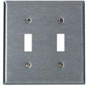 Leviton 84009-40 Toggle Switch Wallplate, 2-Gang, 302 Stainless Steel