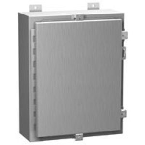 "Hammond Mfg 1418N4S16C8 Wall Mount Enclosure, Continuous Hinge Cover, NEMA 4X, 20 x 16 x 8"", Stainless Steel"