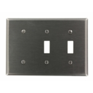 Leviton S214-N 3-Gang Combination Wallplate, Stainless Steel