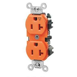 Leviton 5362-IG Duplex IG Receptacle, 20A, 125V, Orange, Heavy Duty, Back/Side Wired
