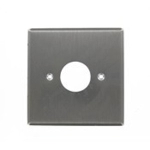 "Leviton 84092-40 2-Gang Single Rcpt Wallplate, (1) 1.406"" Hole, 302 S. Steel"