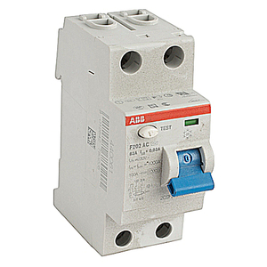 ABB F202AC-63/0.03 Breaker, DIN Rail Mount, Ground Fault, Residual Current, 30mA, 63A