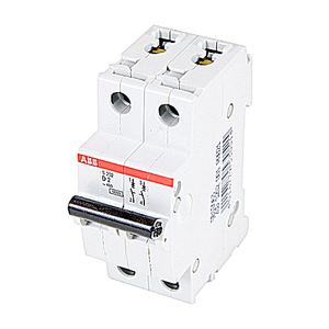 ABB S202-D2 Circuit Breaker, Miniature, DIN Rail Mount, 2A, 2P, 480Y/277VAC