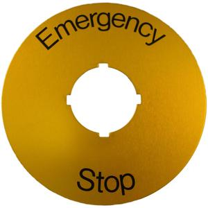 ABB SK-615-546-2 22mm Emergency Stop Plate, Black Text on Yellow