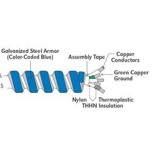 AFC 1704B42T05 MC Cable, Steel Flex, 12/2 STR (Blue, White), 250'